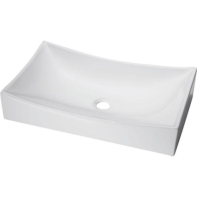 Denovo Rectangular Shallow Porcelain Vessel Sink