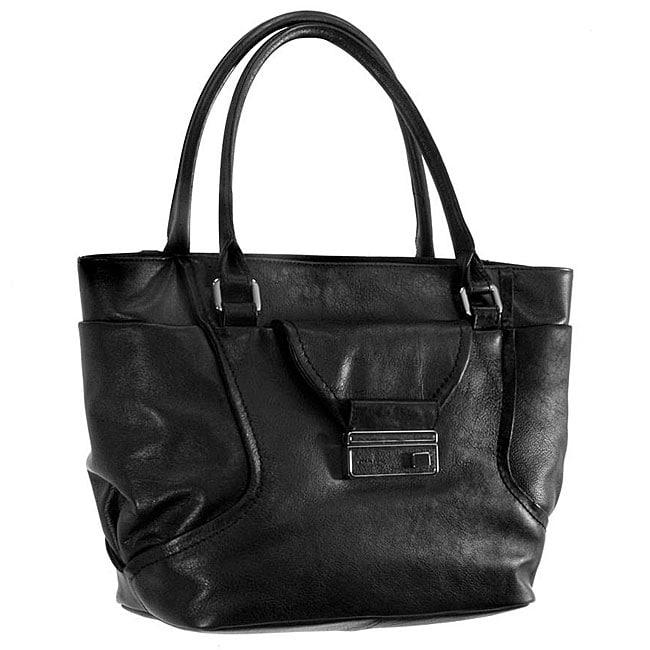 92139ef62b Calvin Klein Black Leather Tote Bag on PopScreen