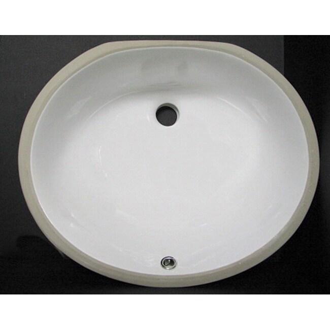 Denovo Porcelain 17x14 Oval White Undermount Bathroom Sink