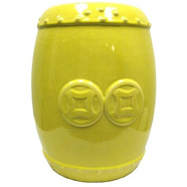Double Coin Yellow Ceramic Garden Stool 12023182