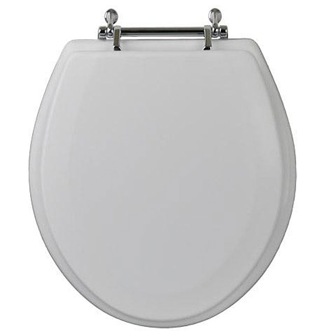 Magnolia Round Wood Toilet Seat With Chrome Hinge
