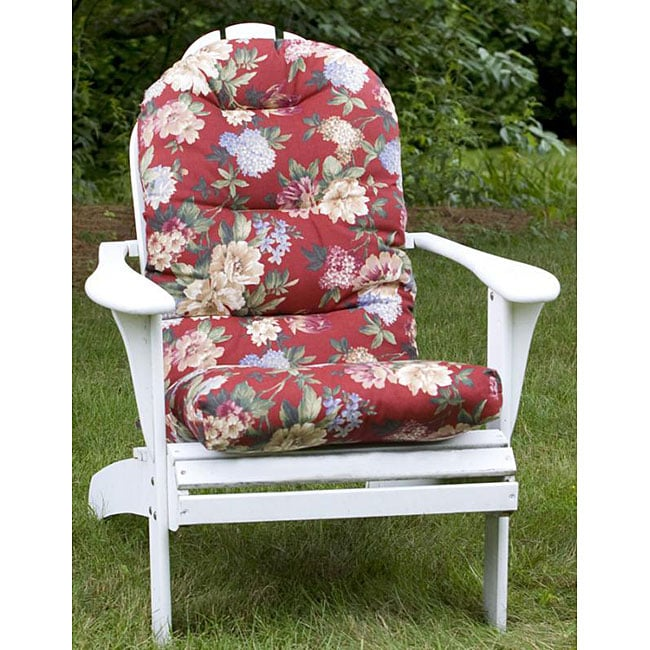 All-weather Red Floral Outdoor Adirondack Chair Cushion