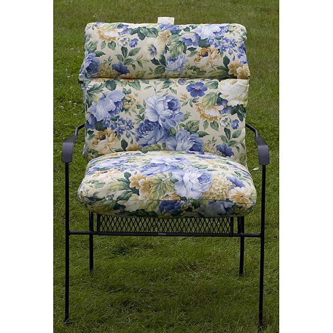 Outdoor Club Chair Blue Floral Cushion 12216328