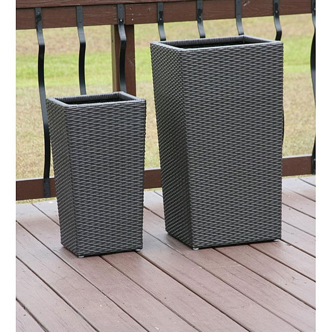All Weather Resin Wicker Flower Pot Planters Set Of 2