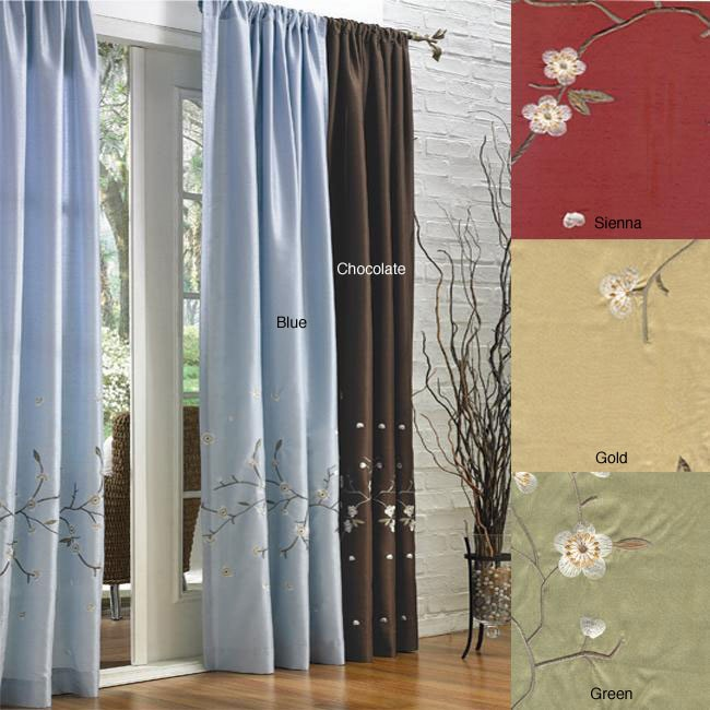 Cherry Blossom Pole Top 84 Inch Curtain Panel Pair
