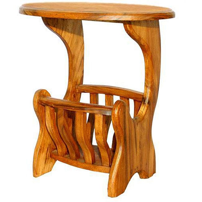 Online Couch Shopping: Handmade Acacia Wood End Table Magazine Rack (Thailand