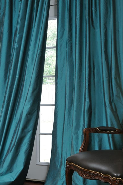 Faux Silk Signature Teal 84 Inch Curtain Panel 12276971