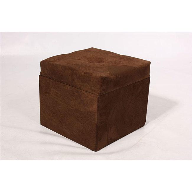 Storage Cube Chocolate Brown Microfiber Ottoman 12278972