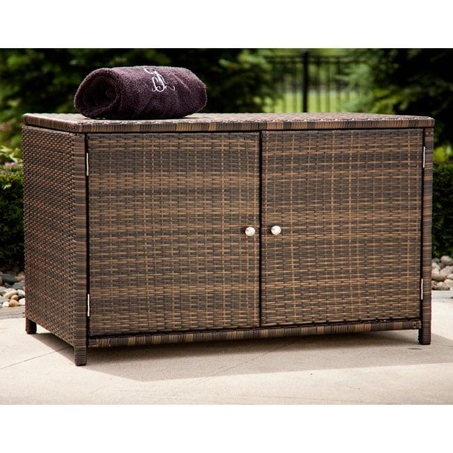 Espresso Wicker Outdoor Storage Cabinet 12286965