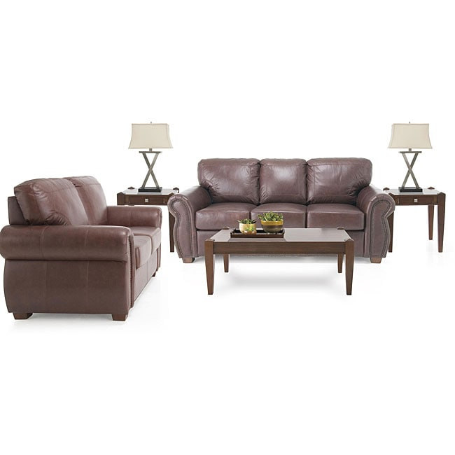 Overstock Living Room Sets: 7 Piece Living Room Package: Leather Sofa And Leather