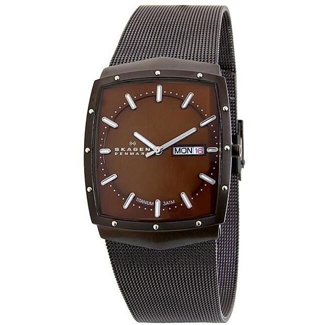 Skagen Men S Brown Mesh Strap Titanium Watch 12348904