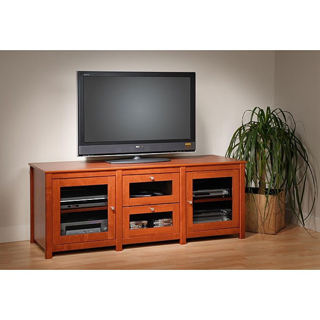 chelsea cherry 60 inch plasma lcd tv stand with storage overstock shopping great deals on. Black Bedroom Furniture Sets. Home Design Ideas