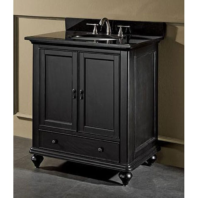 Cambridge 30-inch Black Granite Top Vanity with Undermount ...