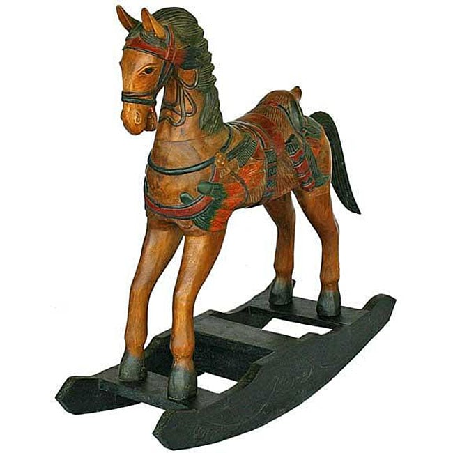 Handmade Wild West Decorative Wood Rocking Horse (Thailand