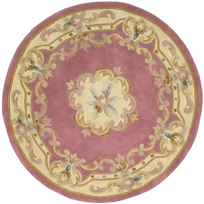 Hand Tufted Pink Floral Wool Rug 4 Round Overstock