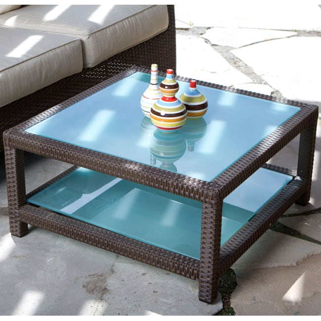 Bamboo Coffee Table Outdoor: Clara Woven Wicker Outdoor Glass Top Coffee Table