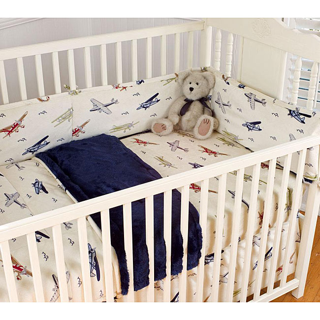Vintage Airplanes Blue 4 Piece Crib Bedding Set 12541632