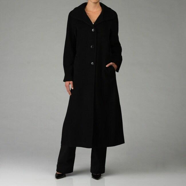 Ellen Tracy Women S Full Length 3 Button Wool Walker Coat
