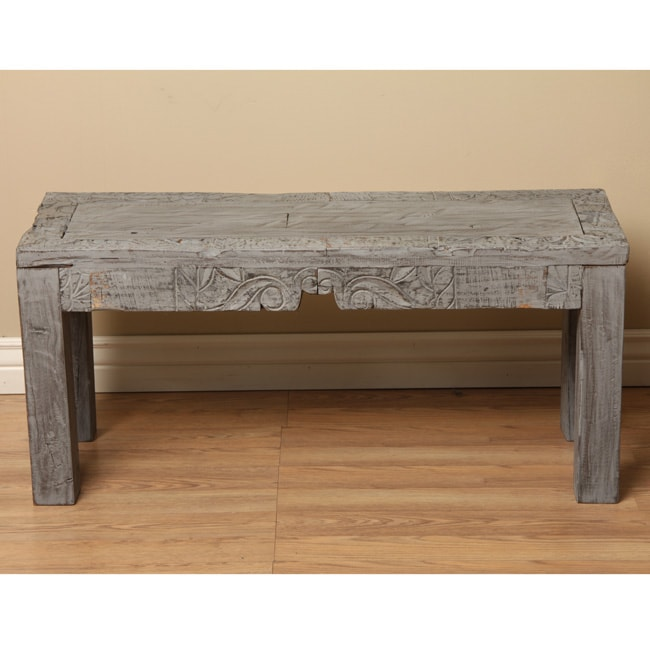 Reclaimed Polished Wood Coffee Table: Reclaimed Wood Grey Coffee Table (India)