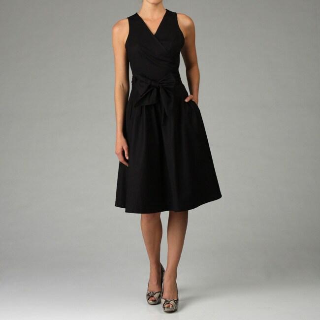 Sandro Women S Black Cotton Poplin Wrap Dress 12605494
