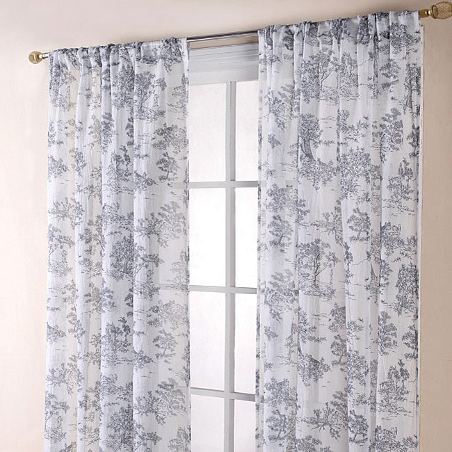 Toile Black White  Inch Sheer Curtain Panels Free