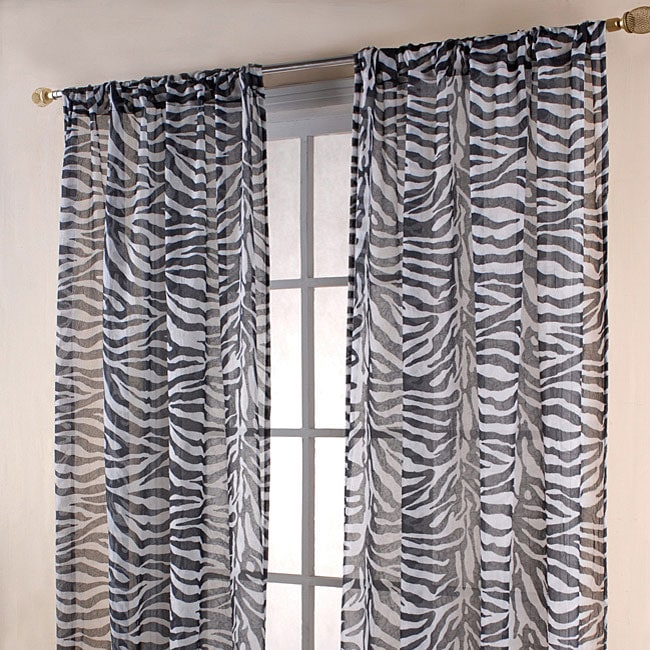 Zebra Print Black White Sheer 84 Inch Curtain Panels