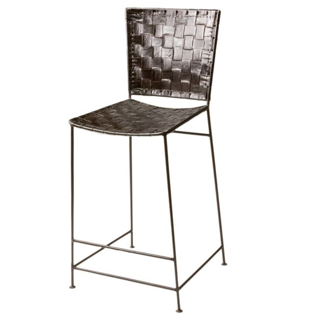 Set of 2 Woven Leather Antique Brown Counter Stools (India ...