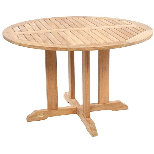 48 Inch Wide Rectangular Dining Table: Teak 48-inch Round Outdoor Dining Table