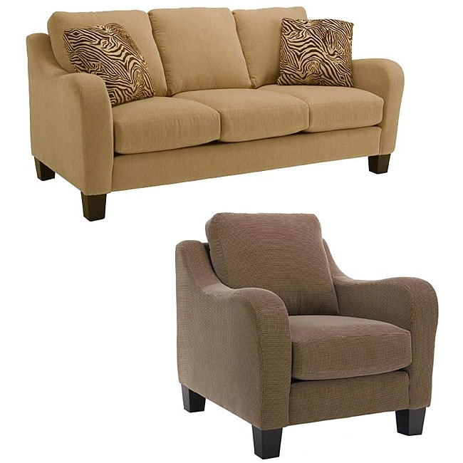 Encore 2 Piece Wheat Fabric Sofa And Houndstooth Fabric