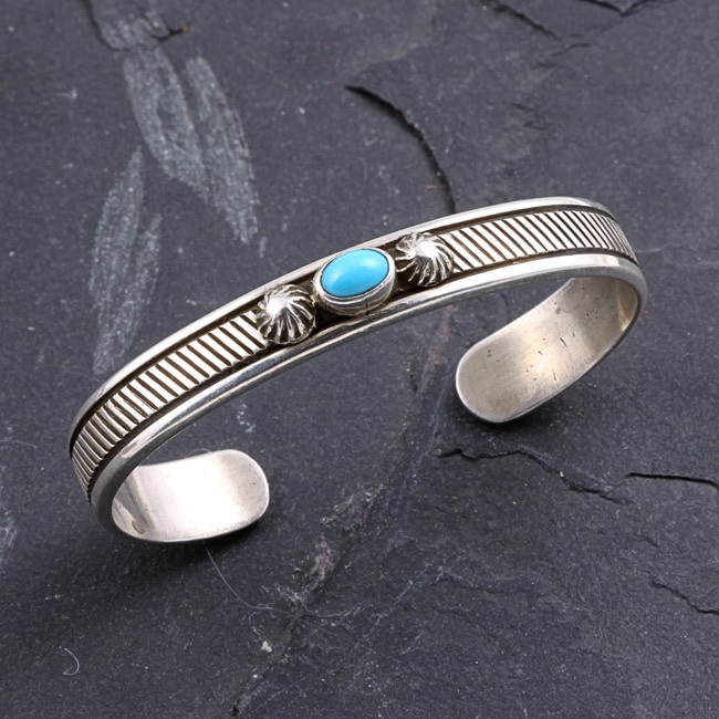 Sterling Silver Turquoise Baby Cuff Bracelet Native