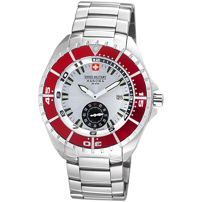 Swiss Military Hanowa Men's 'Sealander' Red Bezel Divers