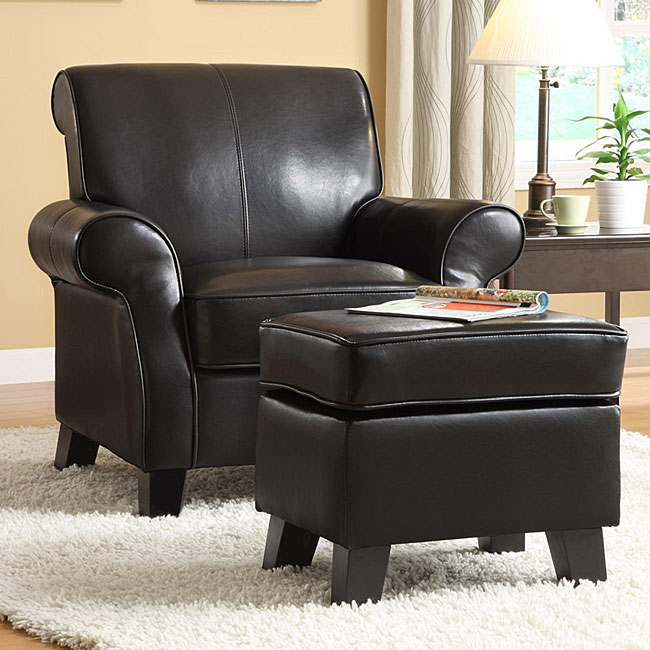 Noho Black Bi Cast Leather Club Chair With Ottoman