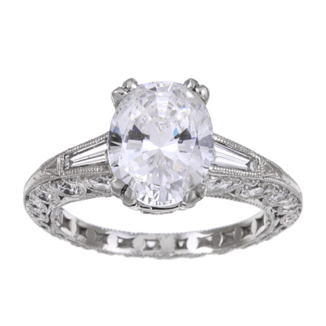 Tacori Platinum Cubic Zirconia And 1ct TDW Diamond