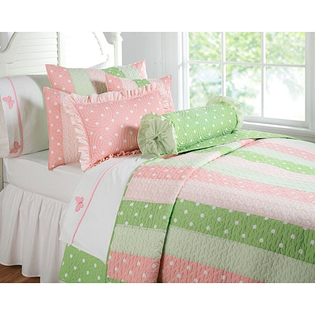 Dottie Stripe Pink/ Green Quilt Set