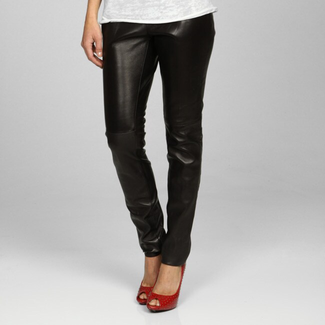 Miss Sixty Women S Black Leather Pants 12933756