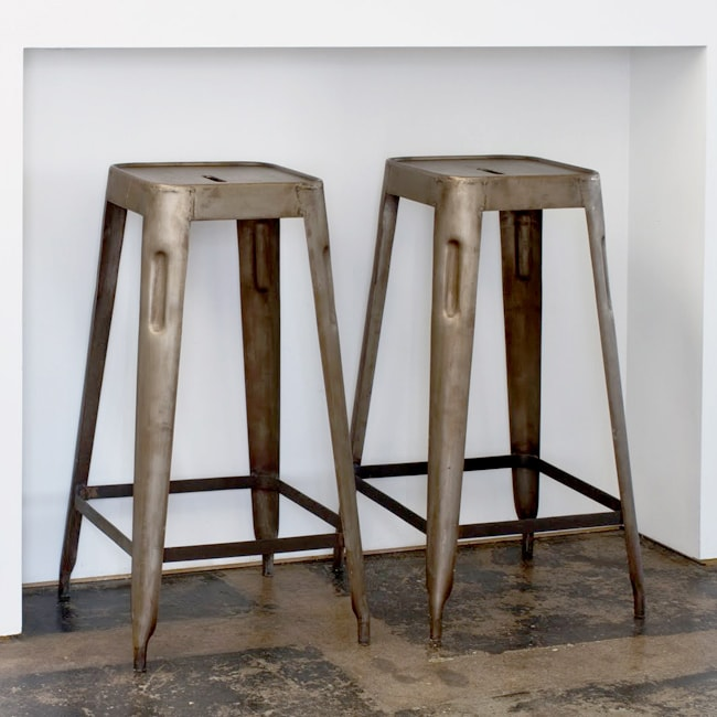 Set Of 2 Steel Stacking Barstools India 12944262