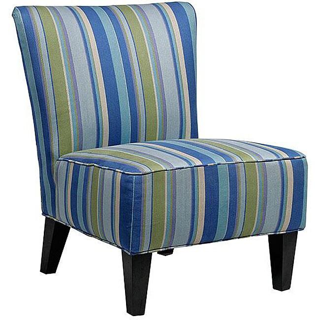 Portfolio hali striped sea blue armless designer accent - Unique accent chairs for living room ...
