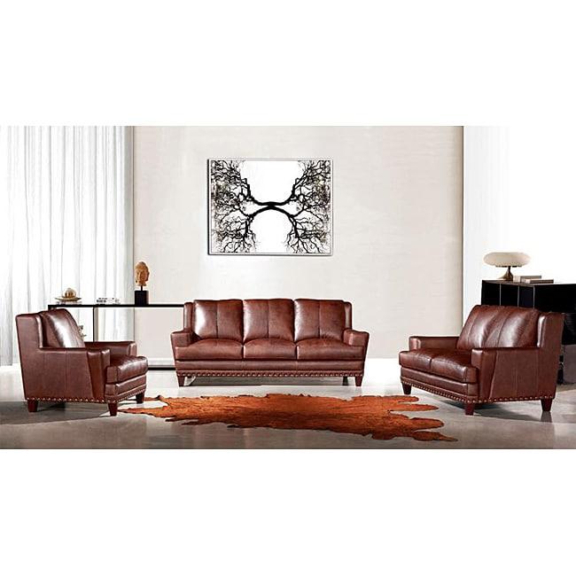 Deals On Sofa Sets: EuroDesign Brown Leather 3-piece Sofa Set