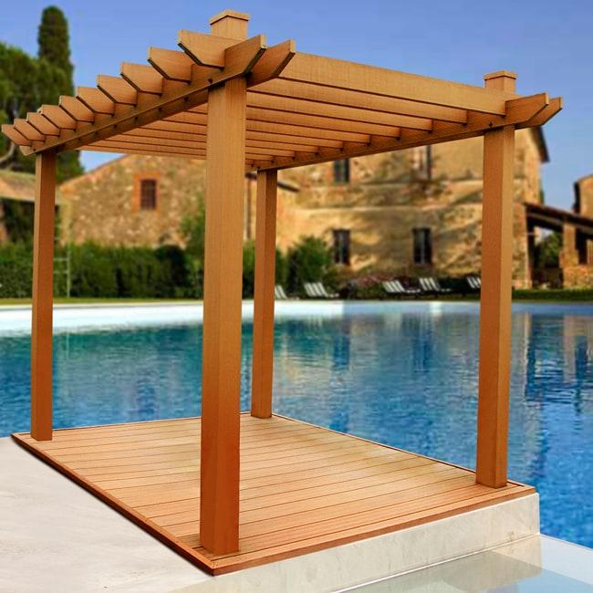 Outdoor Wood Composite Pergola - 12998131 - Overstock.com ...