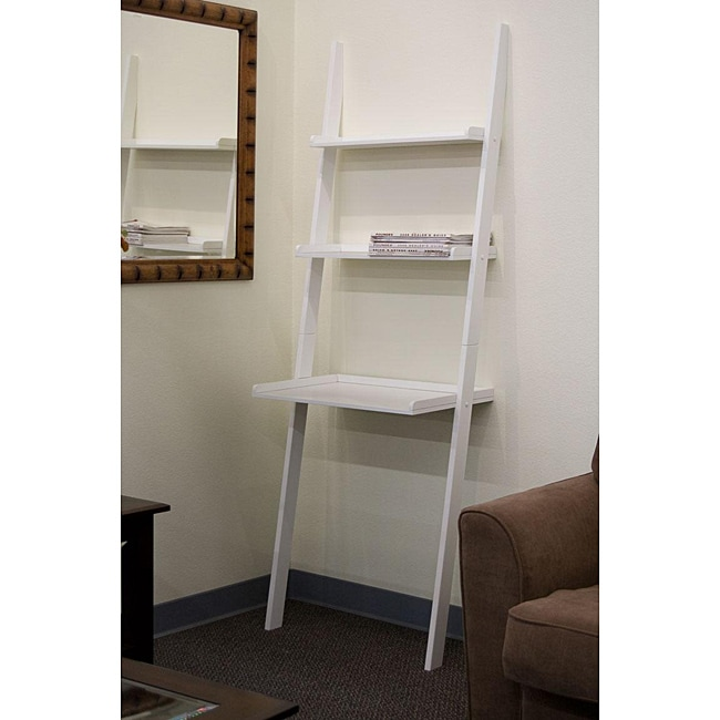 Leaning Ladder White Laptop Desk And Book Shelf 13014142 Overstock