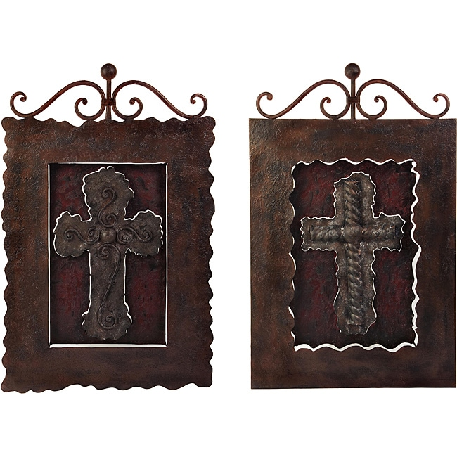 Set Of 2 Iron Scottish Decorative Wall Crosses