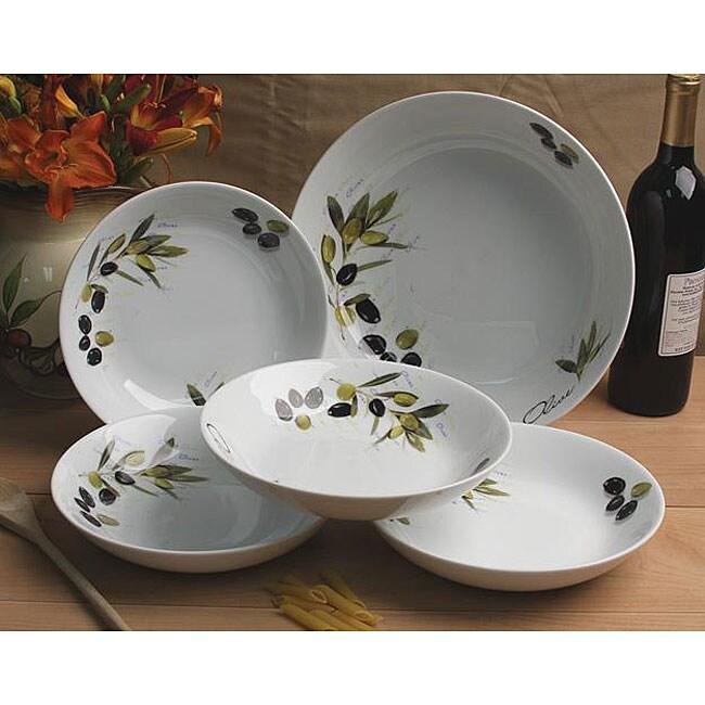 Lorenzo 5 Piece Tuscan Olive Porcelain Pasta Bowl Set