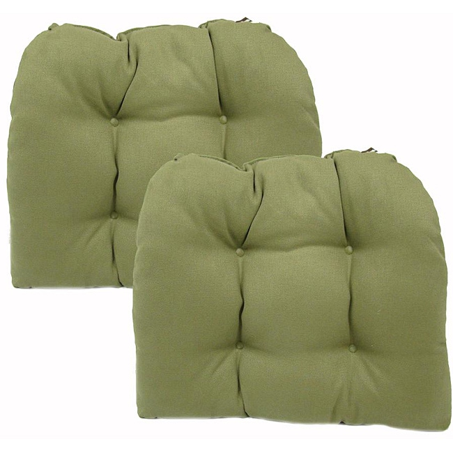 Pebble Sage Brushed Kitchen Dining Chair Pads Set Of 2