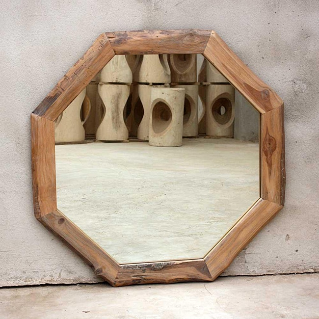 Teak Wood White Oil Octagon Mirror Thailand 13052059