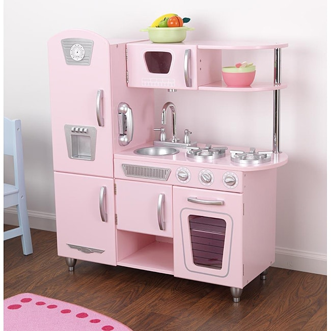 kidkraft large play kitchen pink  white