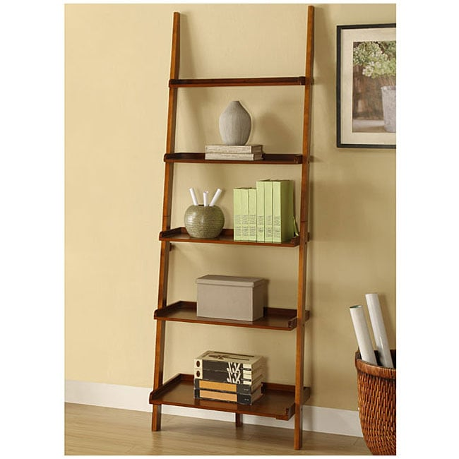 Mahogany Five Tier Leaning Ladder Shelf 13089887 Overstock Com Shopping Great Deals On