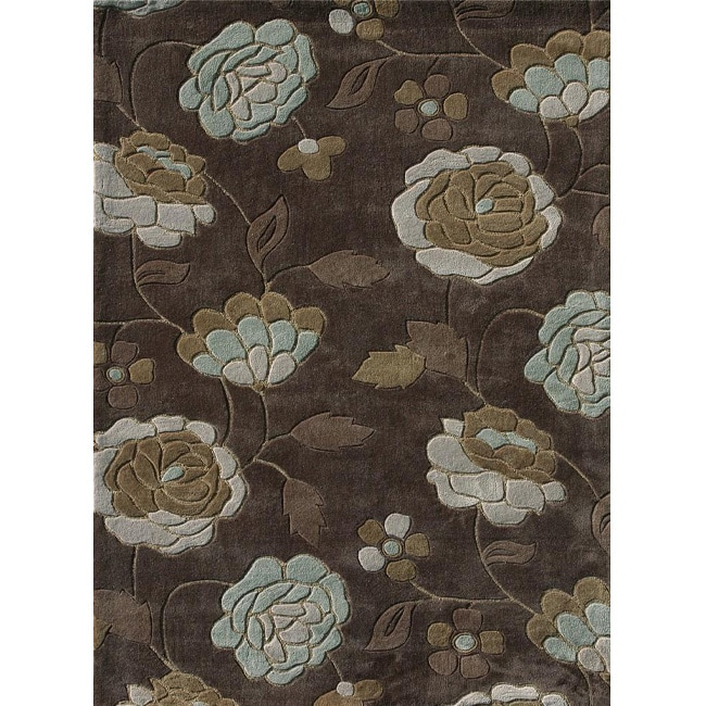 Hand Tufted Chalice Brown Aqua Floral Rug 3 6 X 5 6