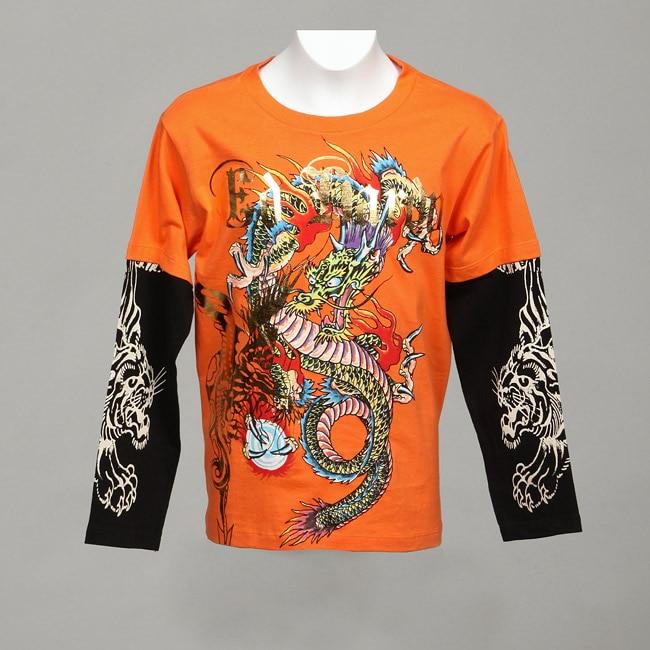 Ed Hardy Big Boys Double Sleeve Dragon T Shirt 13137176