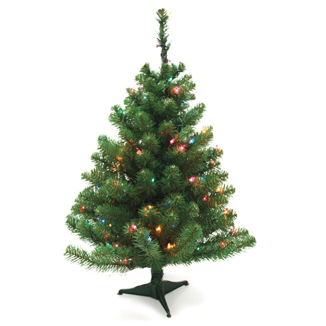 Good Tidings Norway Spruce 3-ft Artificial Prelit Tabletop ...