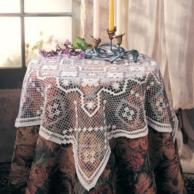 Tuscany White Lace 45 Inch Round Tablecloth 13197729